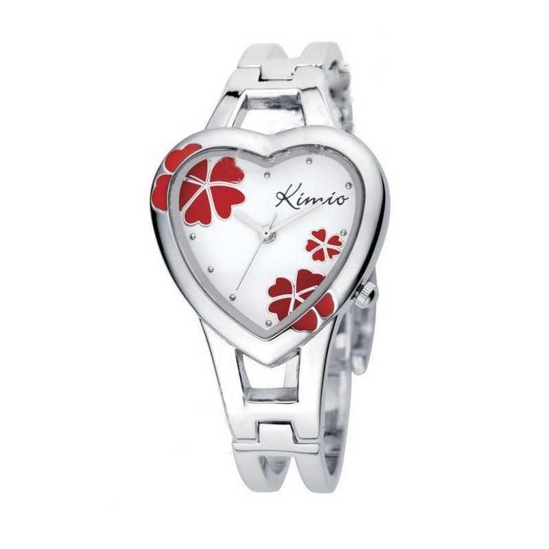 Női szív karperec óra, fehér számlappal, piros virágokkal. 000164-3oc