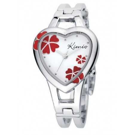 Kimio K440L női szív karperec óra, fehér számlappal, piros virágokkal. 164-3oc