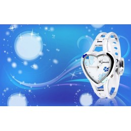 Női szív karperec óra, fehér számlappal, kék virágokkal. 000164-4oc
