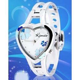 Kimio K440L női szív karperec óra, fehér számlappal, kék virágokkal. 164-4oc