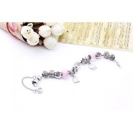 Divatos női karkötő csillogó strasszokkal. Rózsaszín. 00006ec